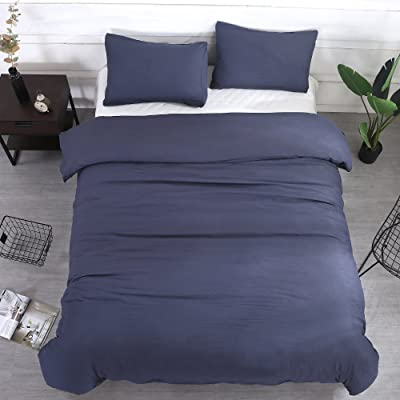"Navy Blue Duvet Cover Set with Zipper Closure,Queen 90""x90"",Natural Wrinkled Look Bedding 3 Piece(1pc Duvet Cover + 2pc Pillow Cases)by WAFTING,Lightweight Hypoallergenic Polyester-NO Comforter: Home & Kitchen"