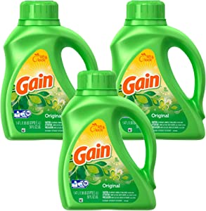 Gain Lift and Lock Liquid Laundry Detergent, Original - 150 Fl Oz - 3 Pack x 50 Fl Oz / 1.47 L (32 Loads) Each/HE Compatible