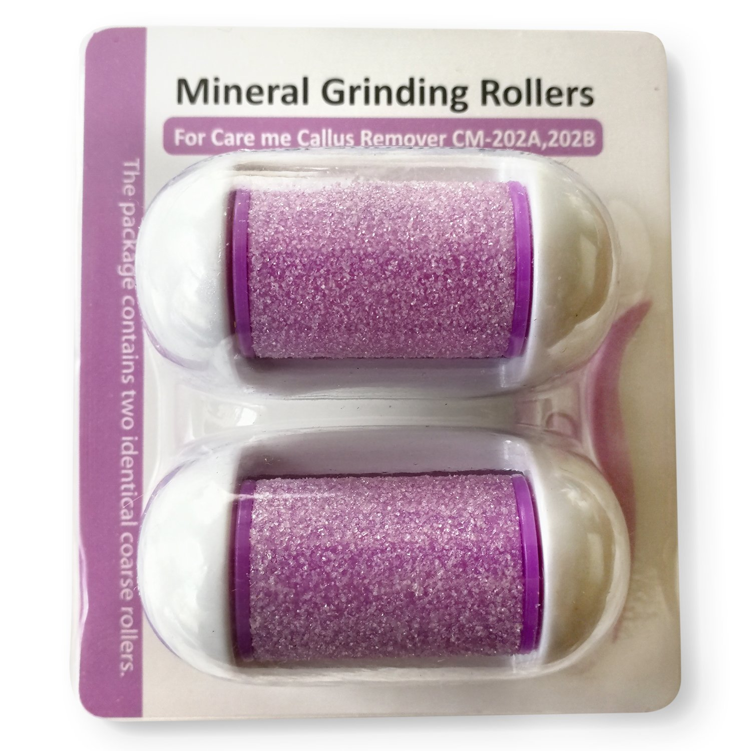 Replacement Rollers for Care me Rechargeable Callus Remover (Model# CM202) - Effectively Removes Hard and Cracked Skin and Calluses on Feet - a Pack of 2 (purple)