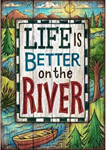 COCOBE Life is Better on The River COCOBE - Double Sided, Garden Size, 12 Inch X 18 Inch Decorative Flag