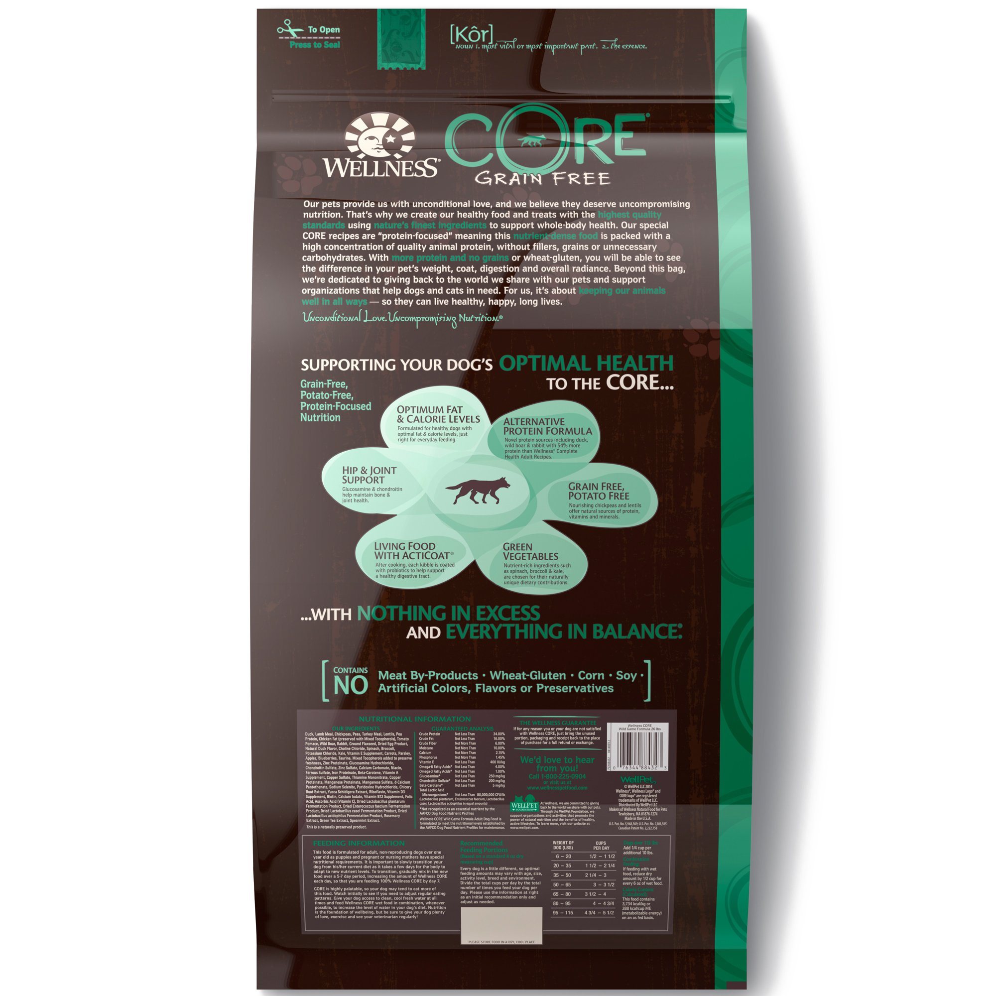 Wellness CORE Natural Grain Free Dry Dog Food, Wild Game Duck, Turkey, Boar & Rabbit, 26-Pound Bag by WELLNESS CORE (Image #2)