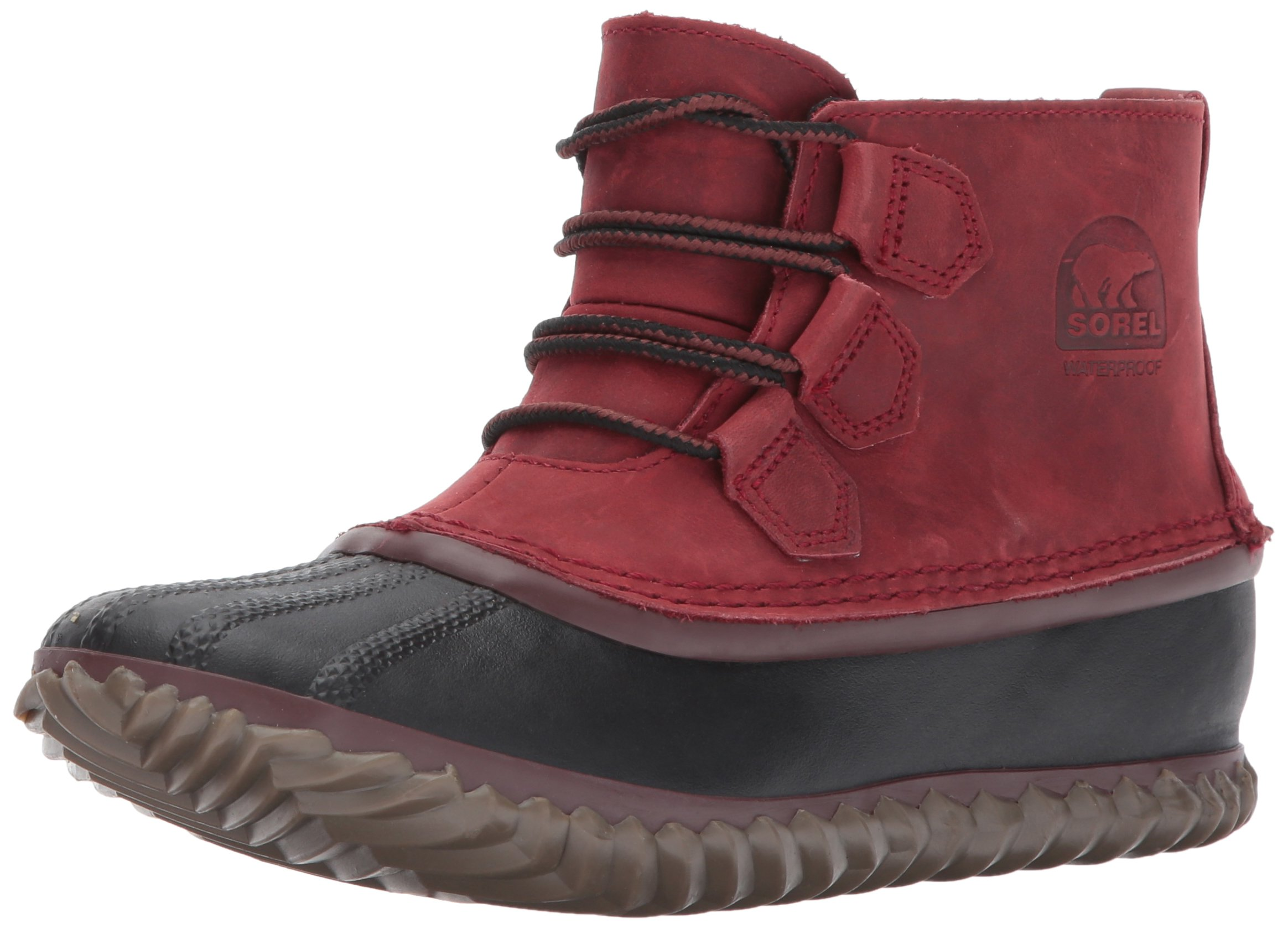 SOREL Women's N About Leather Rain Snow Boot, Red Element, 8.5 M US
