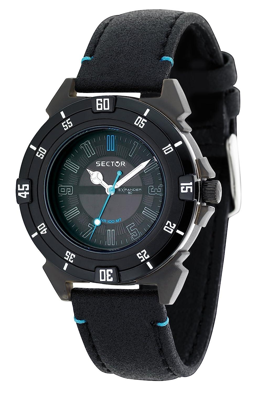 SECTOR Sector - Reloj analógico de Cuarzo para Hombre con Correa de Piel, Color Negro