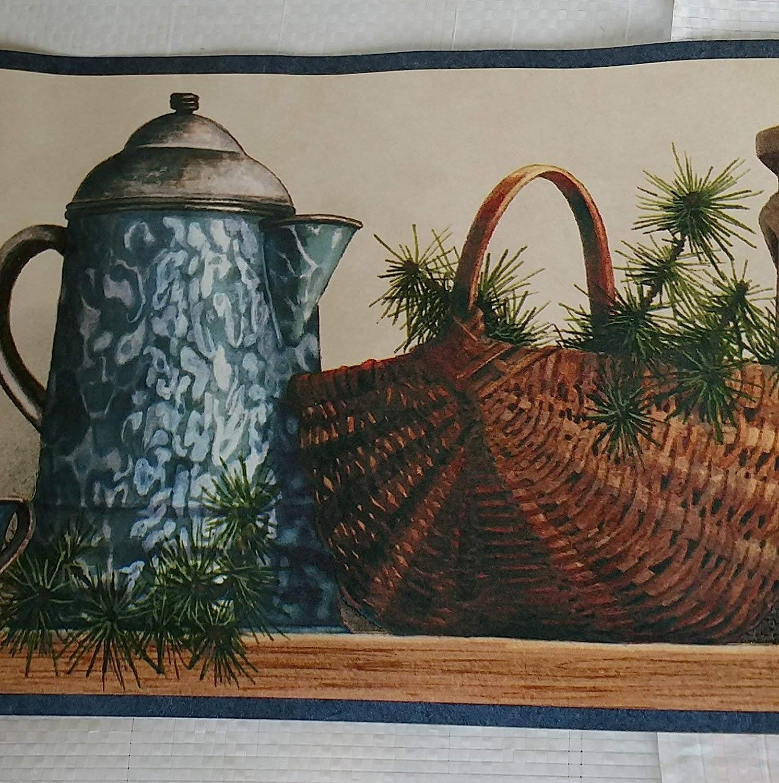 Country Shelf Baskets Ducks Pottery Kitchen Laundry Wallpaper Border