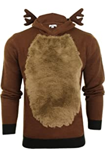 Mens Novelty Christmas Jumper Hooded Novelty Reindeer Antlers Brown Faux Fur