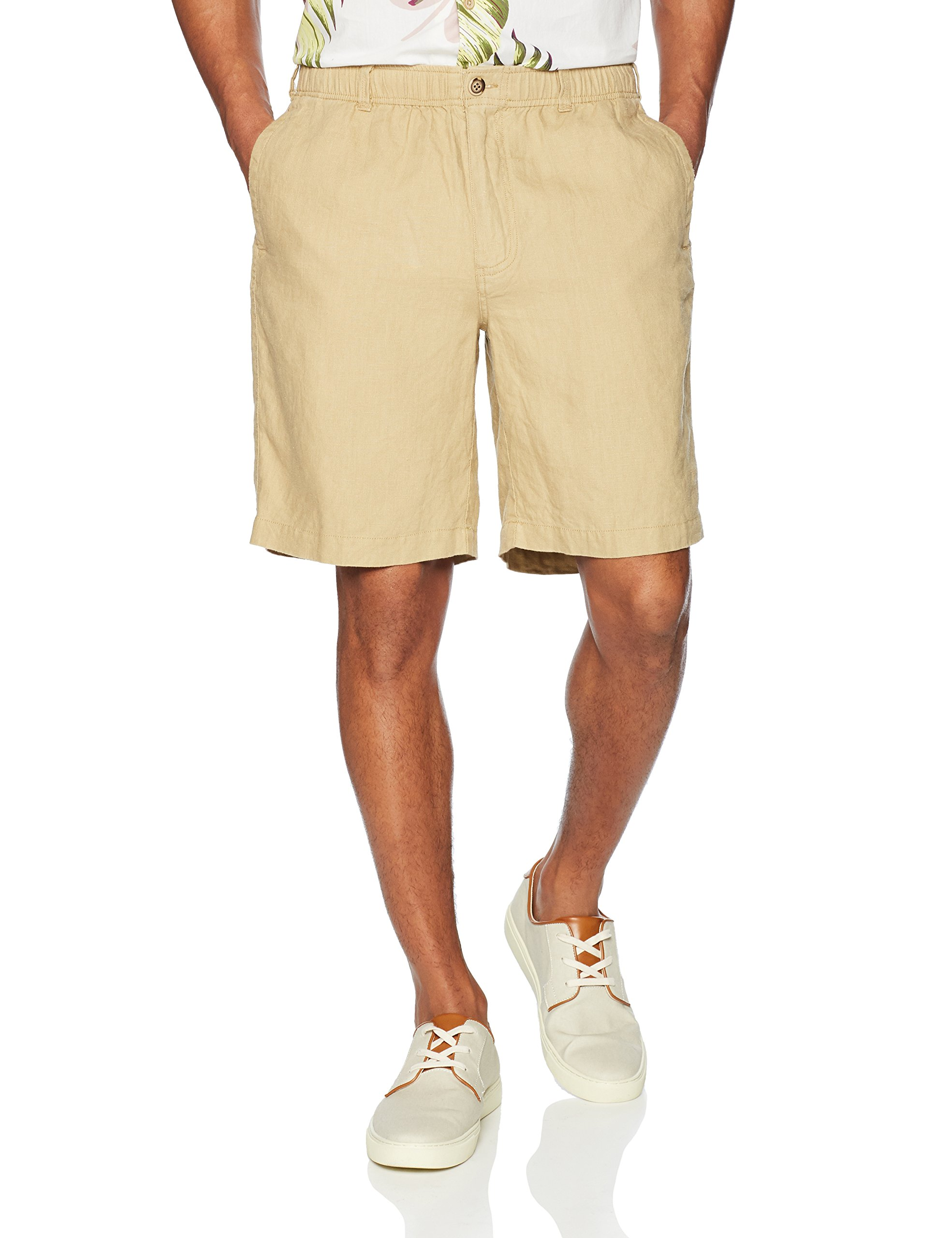 28 Palms Men's Relaxed-Fit 9'' Inseam Linen Short with Drawstring, Tan, X-Large