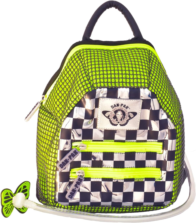 Dan-Pak Mini Hydration Pack- Check Wreck- Checkers and Neon Green Bag