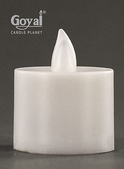 Goyal Plastic Battery Operated LED Tealight White Candless Flameless Heatless No Heat Candle