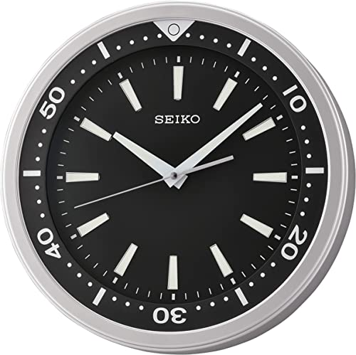 SEIKO 14″ Ultra-Modern Watch Face Black Silver Tone