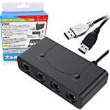 GCゲームキューブ コントローラー 接続タップ 4ポート/ Wii U PC & Switch対応 コントローラー用 転換 アダプター TURBO連射機能 日本語説明書【二代目最新版】