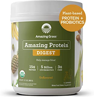 product image for Amazing Grass DIGEST Vegan Protein Powder, Plant Based with Probiotics + Fiber to Manage Bloat, Unflavored, 15 Servings