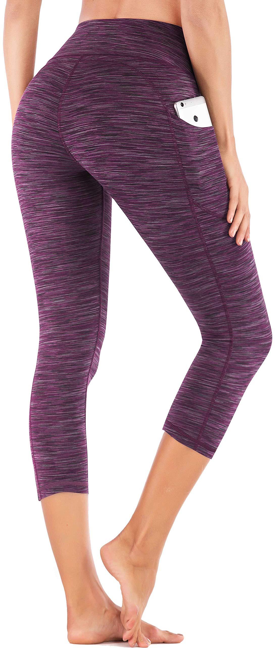 IUGA High Waist Yoga Pants with Pockets, Tummy Control Yoga Capris for Women, 4 Way Stretch Capri Leggings with Pockets(Space Dye Purple, XS) by IUGA