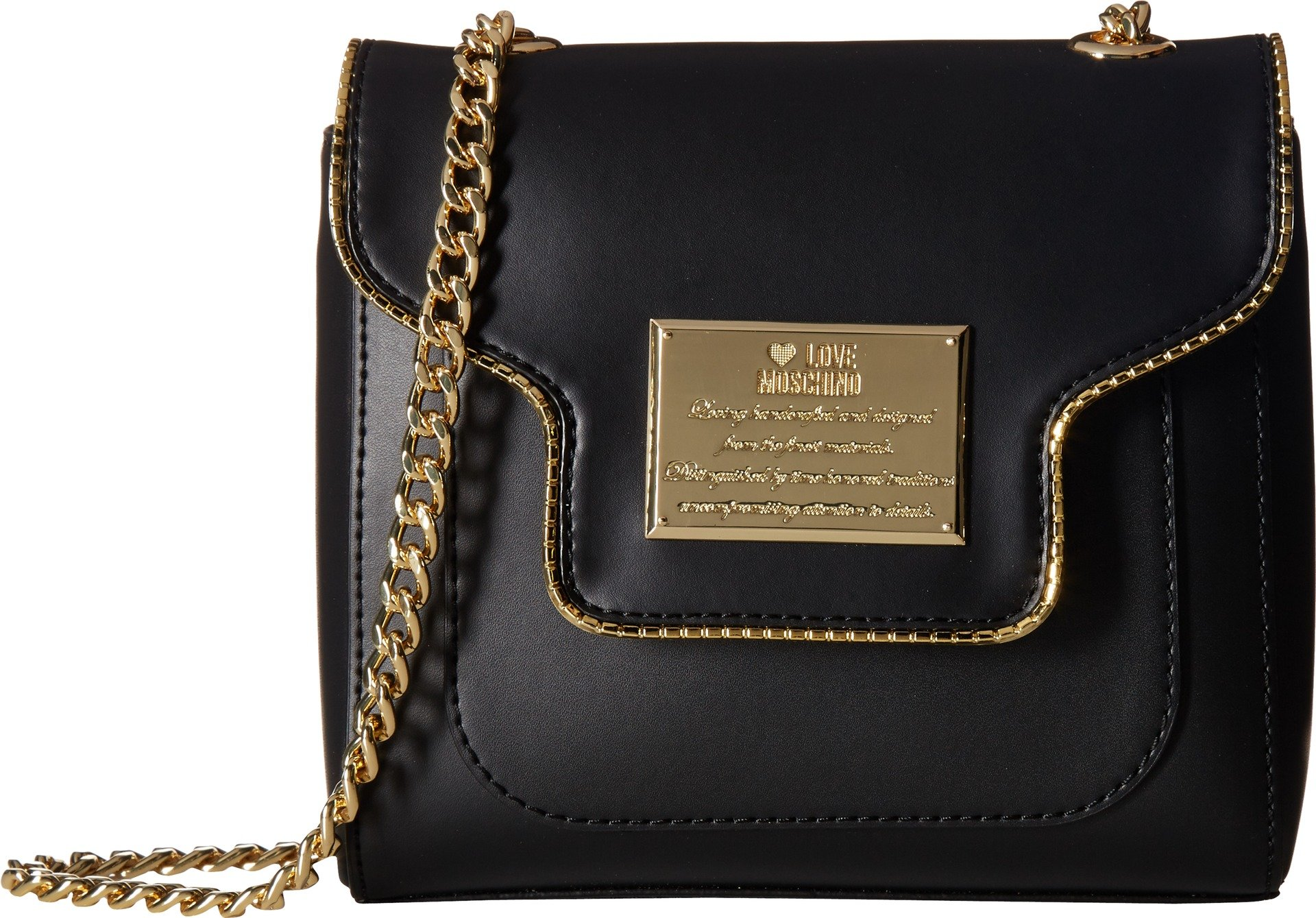 LOVE Moschino Women's Plaque Flap Crossbody Black Crossbody Bag