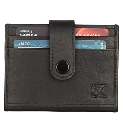 e2f3bc9c9d8c Amazon.com: Slim Genuine Leather Credit Card Holder Front Pocket Wallet  with RFID Blocking with 10 card slots: Styler King