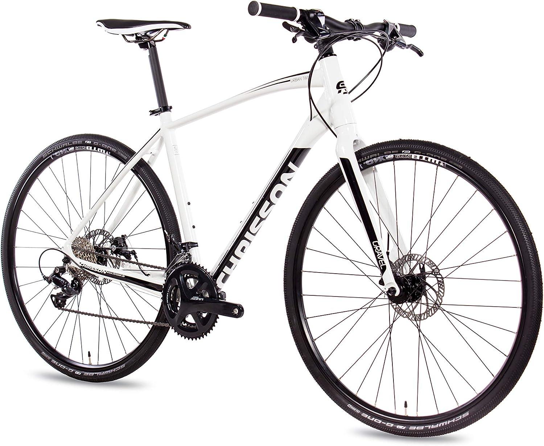 CHRISSON Bicicleta de 28 pulgadas Gravel Bike Urban Two Blanco 56 cm, Urbanrad con 18 marchas Shimano Sora cambio Cross Rennrad para hombre y mujer: Amazon.es: Deportes y aire libre