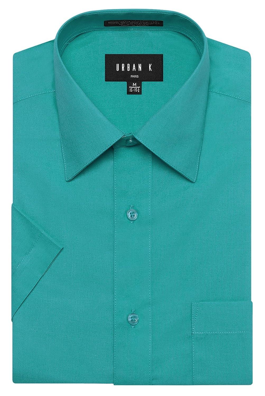 URBAN K メンズMクラシック フィット ソリッドフォーマル襟 半袖ドレスシャツ レギュラー & 大きいサイズ B06VWVK616 L Ubk_turquoise Ubk_turquoise L
