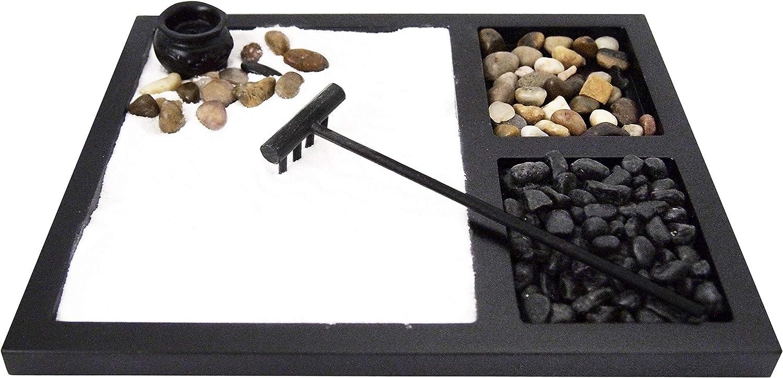 JOICE GIFT Desktop Japanese Zen Garden with Rake 2 tpyes Stones Burner Decor, ZG03