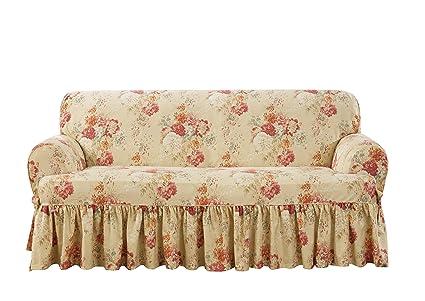 Pleasing Sure Fit Ballad Bouquet Waverly One Piece Loveseat Slipcover Blush Machost Co Dining Chair Design Ideas Machostcouk