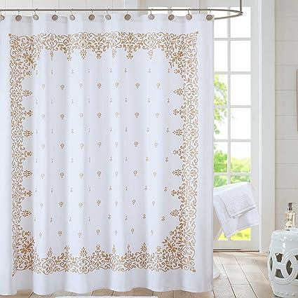 Amazoncom Anthology Algiers 72 Inch Shower Curtain In White Gold