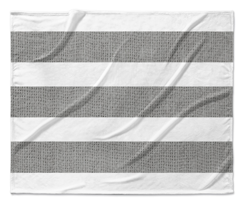 Size: 80x60x1 - KAVKA Designs Centerville Charcoal Fleece Blanket, Charcoal//White TELAVC8119VPL -