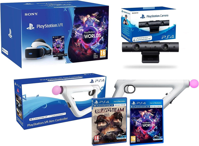 PlayStation VR + Bravo Team + Aim-Controller PS4 + PS4 Camera V2 + VR Worlds - VR Pack