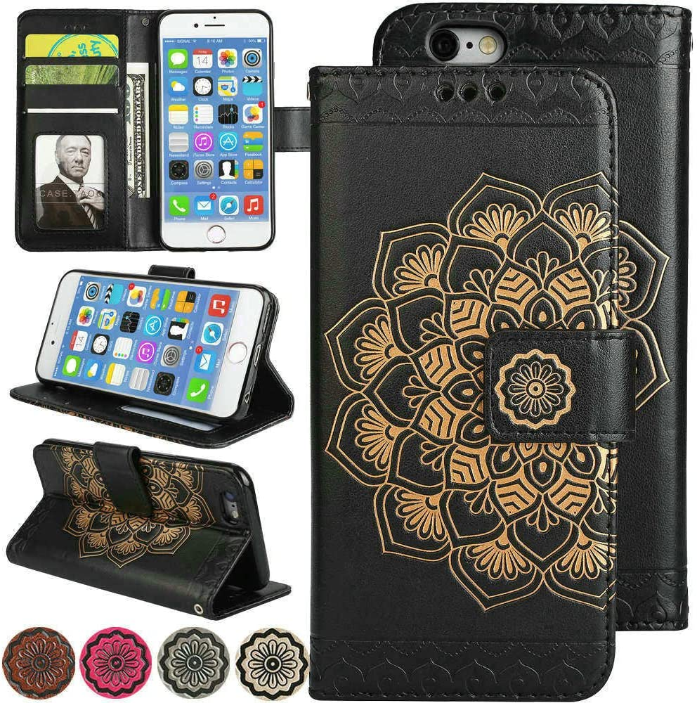iPhone 6S Plus Case, iPhone 6 Plus Case, Fold Stand Wallet Case 3D Flower Leather Cover iPhone6 Plus Flip Magnetic Folio Phone Cover with Credit Card Holder for iPhone6s Plus (Black)