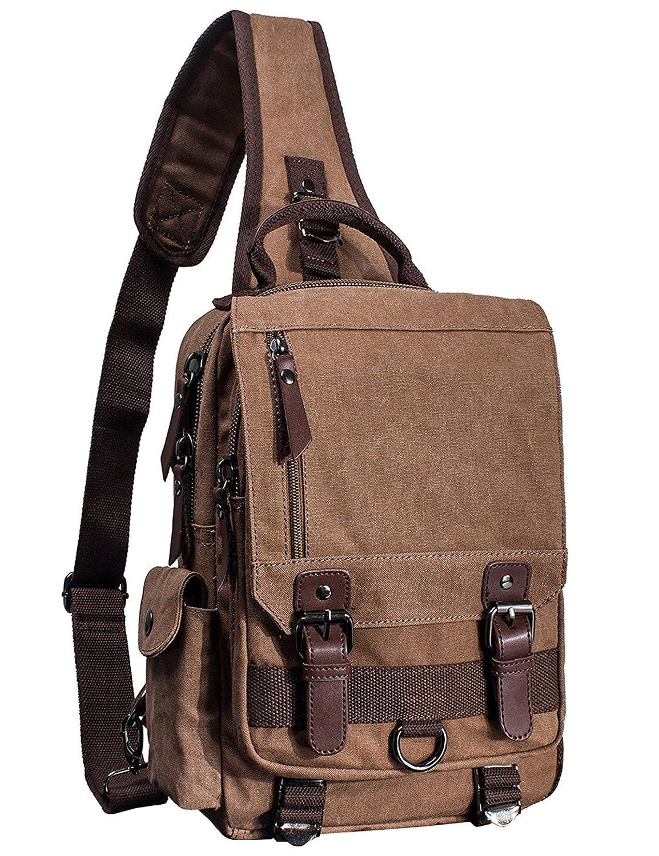 El-fmly Canvas Message Sling Bag Outdoor Cross Body Bag Messenger Shoulder Bag – Coffee