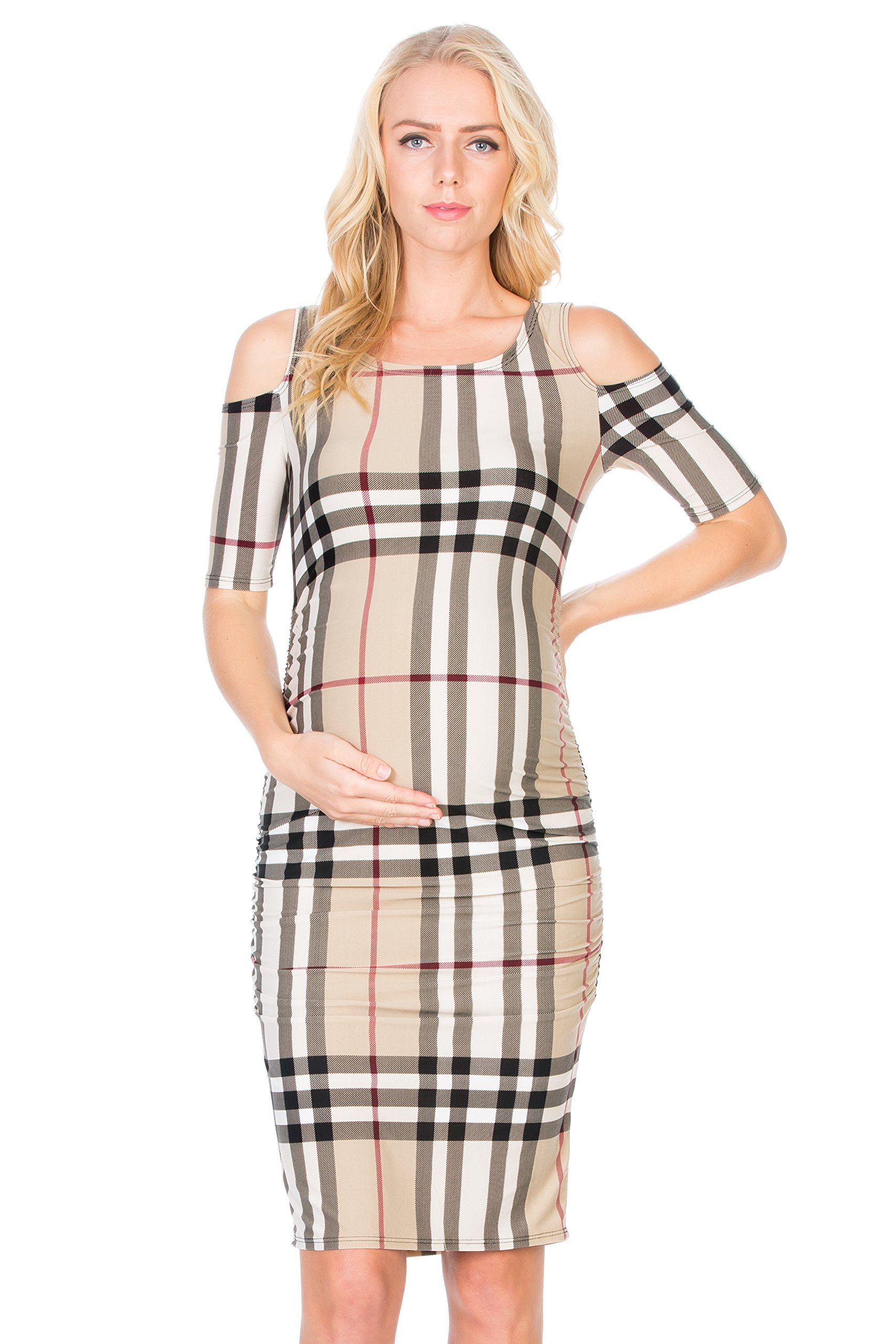 My Bump Women's Cold Shoulder Fitted Maternity Dress W/Side Ruched (X-Large, Taupe Plaid)