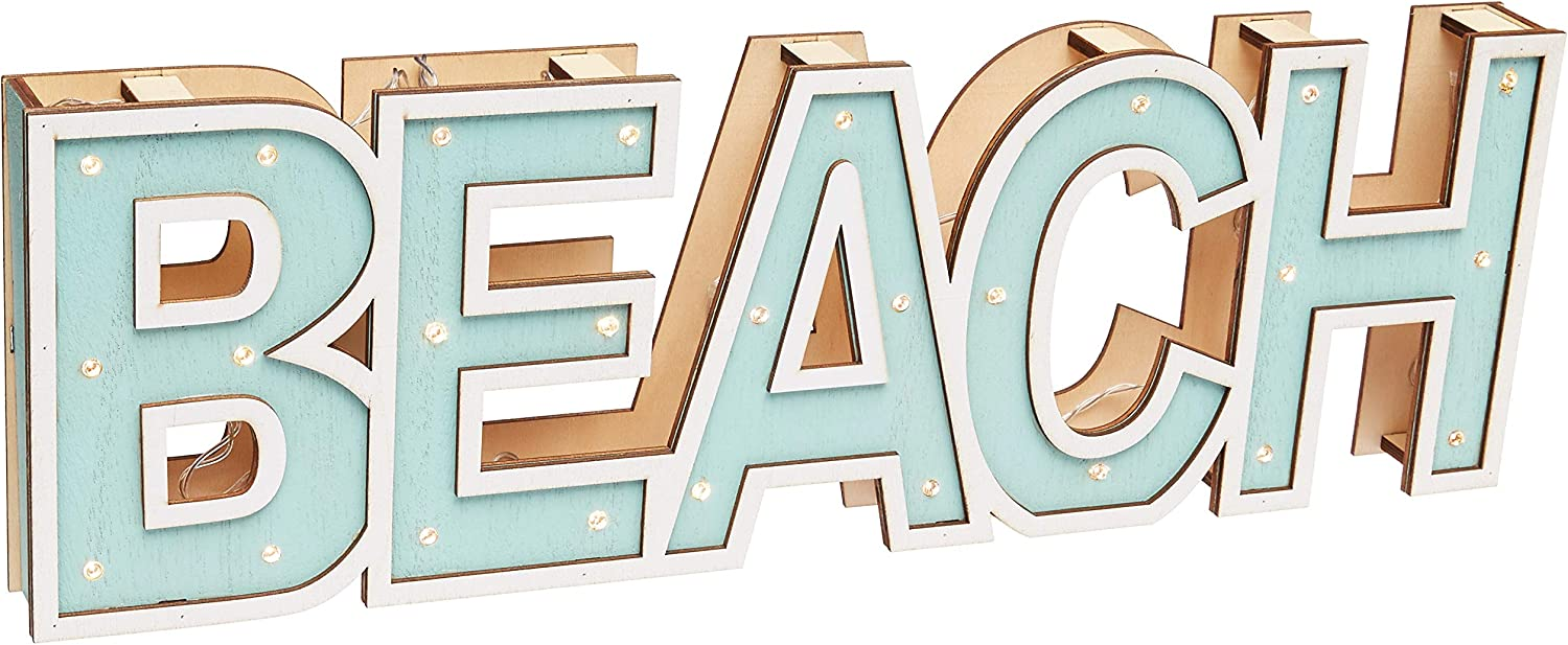Lit Marque Style Wood Beach Word | LED Lit 3-Dimentional Wooden Beach Word Sign | 17.5 Inches Long | Aqua & White Wood Open Frame Coastal Tropical Beach Décor For Wall, Table, Entry