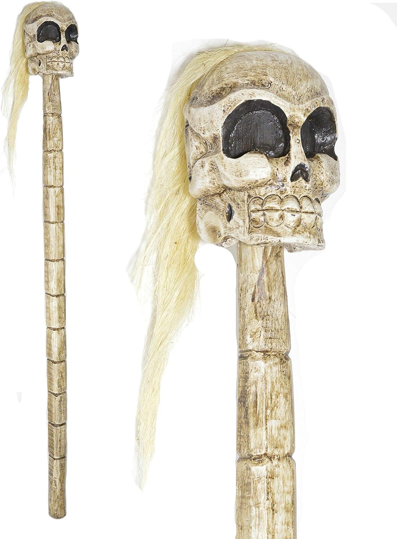 Hand Carved Wood Skull Skeleton Walking Stick Cane