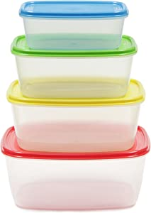 Chef Craft Food Storage Container Set, Red/Blue/Green/Yellow