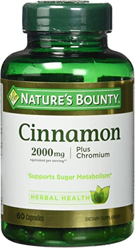 Nature's Bounty Cinnamon 2000mg Plus Chromium, Dietary Supplement Capsules 60 ea
