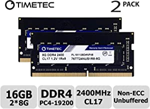 Timetec Hynix IC 16GB KIT(2x8GB) DDR4 2400MHz PC4-19200 Unbuffered Non-ECC 1.2V CL17 1Rx8 Single Rank 260 Pin SODIMM Laptop Notebook Computer Memory RAM Module Upgrade (16GB KIT(2x8GB))