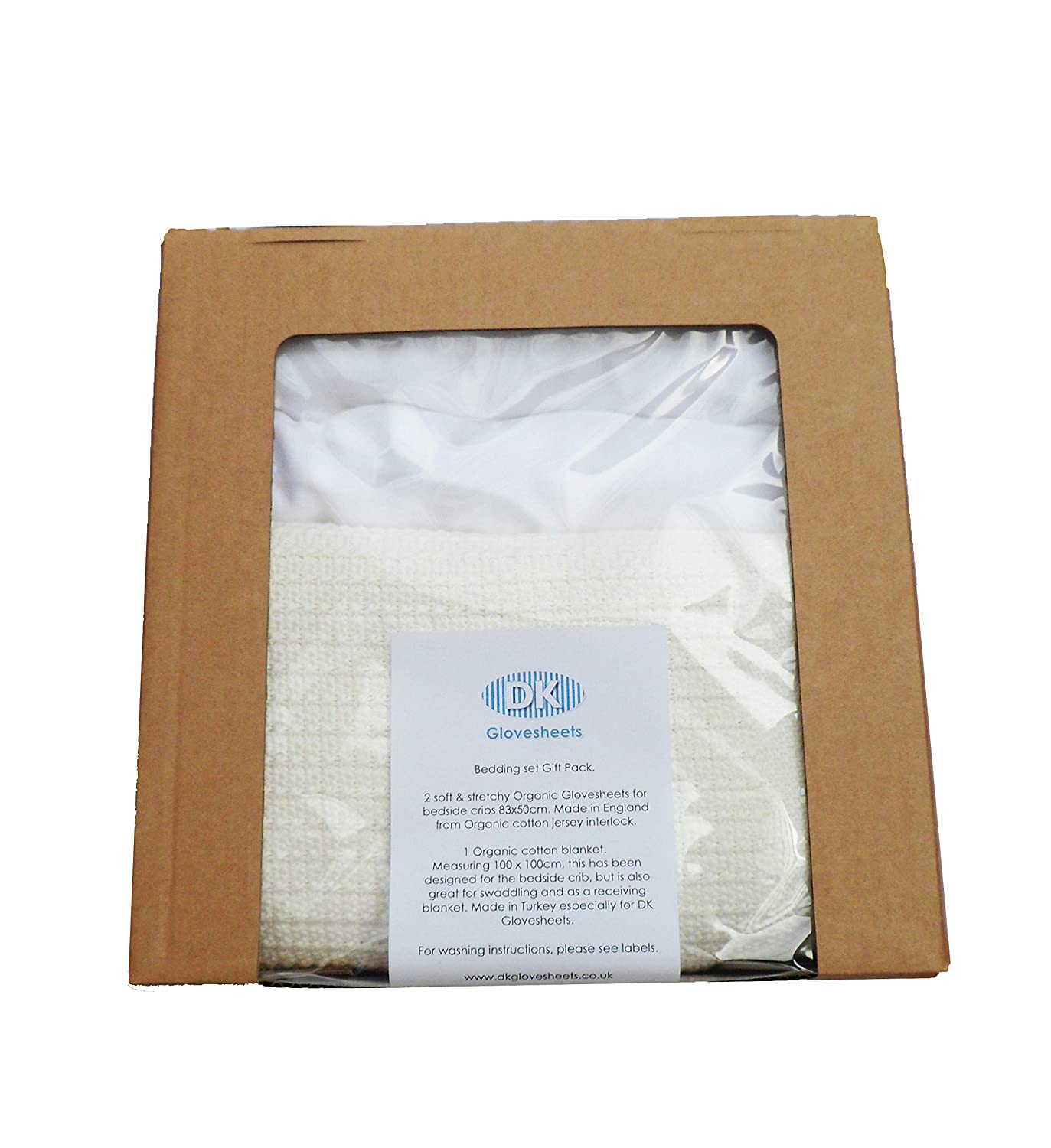 Natural DK 100/% ORGANIC 3 Piece Bedding Bundle Set For Next To Me /& Lullago Crib Includes 2 Fitted White Organic Glovesheets /& 1 Organic Cotton Knitted Blanket