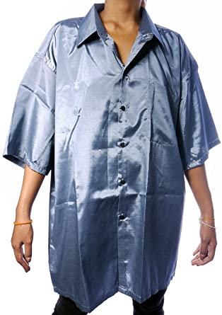 fca747f404e025 MENS SILK SHIRT - PLAIN GREY DARK SILVER - SHORT SLEEVE SLEEVED size XXL  52in 132cm  Amazon.co.uk  Clothing