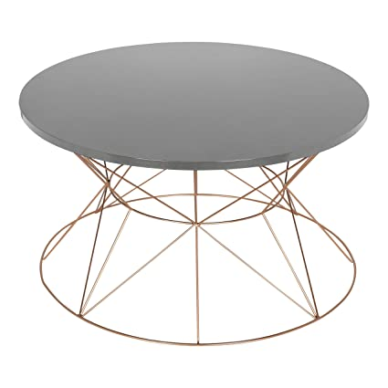 Kate And Laurel Mendel Round Metal Coffee Table, Gray Top With Rose Gold  Base