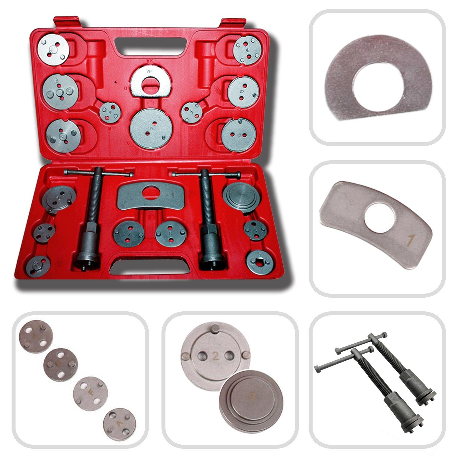 Todeco - Brake Repair Tool Kit, Brake Caliper Tool Set - Material: C45 steel - Case size: 31 x 21.5 x 6 cm - 21 Parts, with Red case