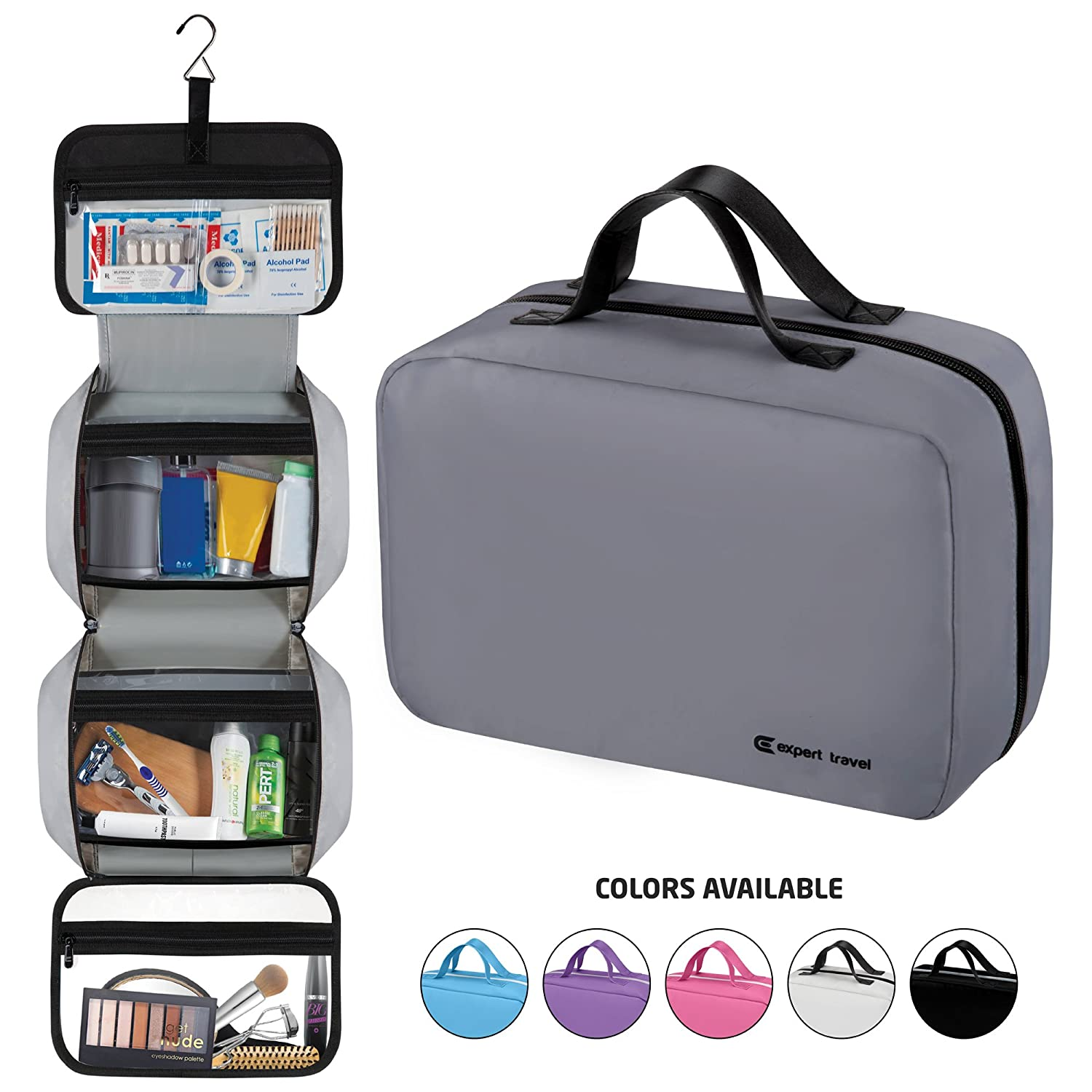 """Hanging Travel Toiletry Bag for Men and Women   Makeup Bag   Cosmetic Bag   Bathroom and Shower Organizer Kit   Leak Proof   Large (34""""x11"""")"""