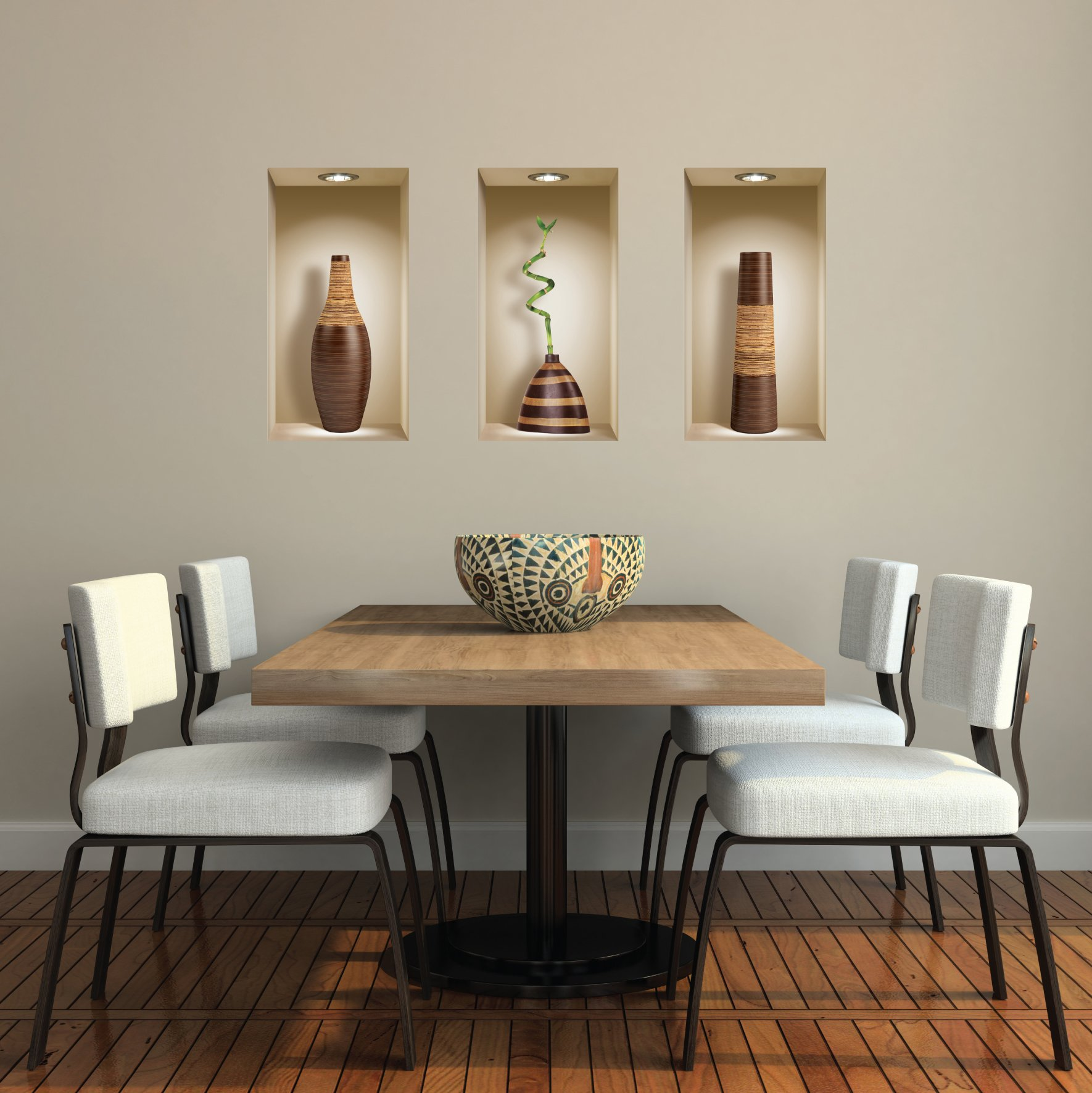 The Nisha Art Magic 3D Vinyl Removable Wall Sticker Decals DIY, Set of 3, Brown Vases by the Nisha (Image #4)