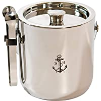 Stock Harbor Ice Bucket Insulated With Sealed Lid and Tongs, Thermal Double Wall, Large 3 Liter Stainless Steel with…