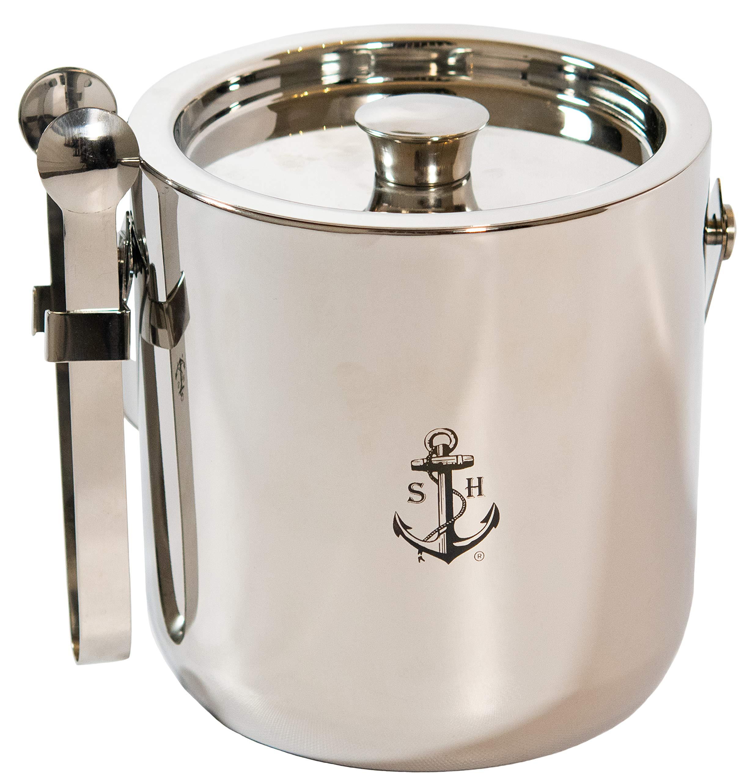 Stock Harbor 3 Liter Insulated Double Wall Stainless Steel Ice Bucket with Tongs Storage and Sealed Lid by S H STOCK HARBOR