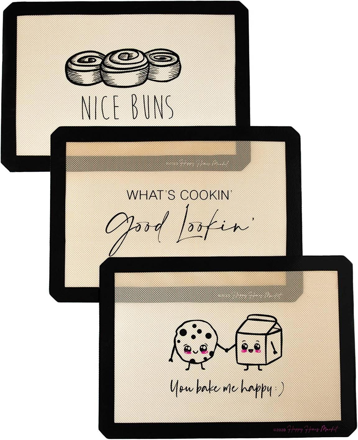 Happy Homes Market, Silicone Baking Mat, Non-Stick, Professional Grade Quality Baking Mat, Food Safe, BPA Free, Reusable, Eco-Friendly, Luxury Baking Sheet Liner- Set of 3 Standard Half Sheet Sizes