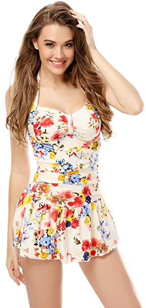 Arctic Cubic One Piece Floral Ruched Halter Push Up Slim Tummy Control Tankini Swim Dress