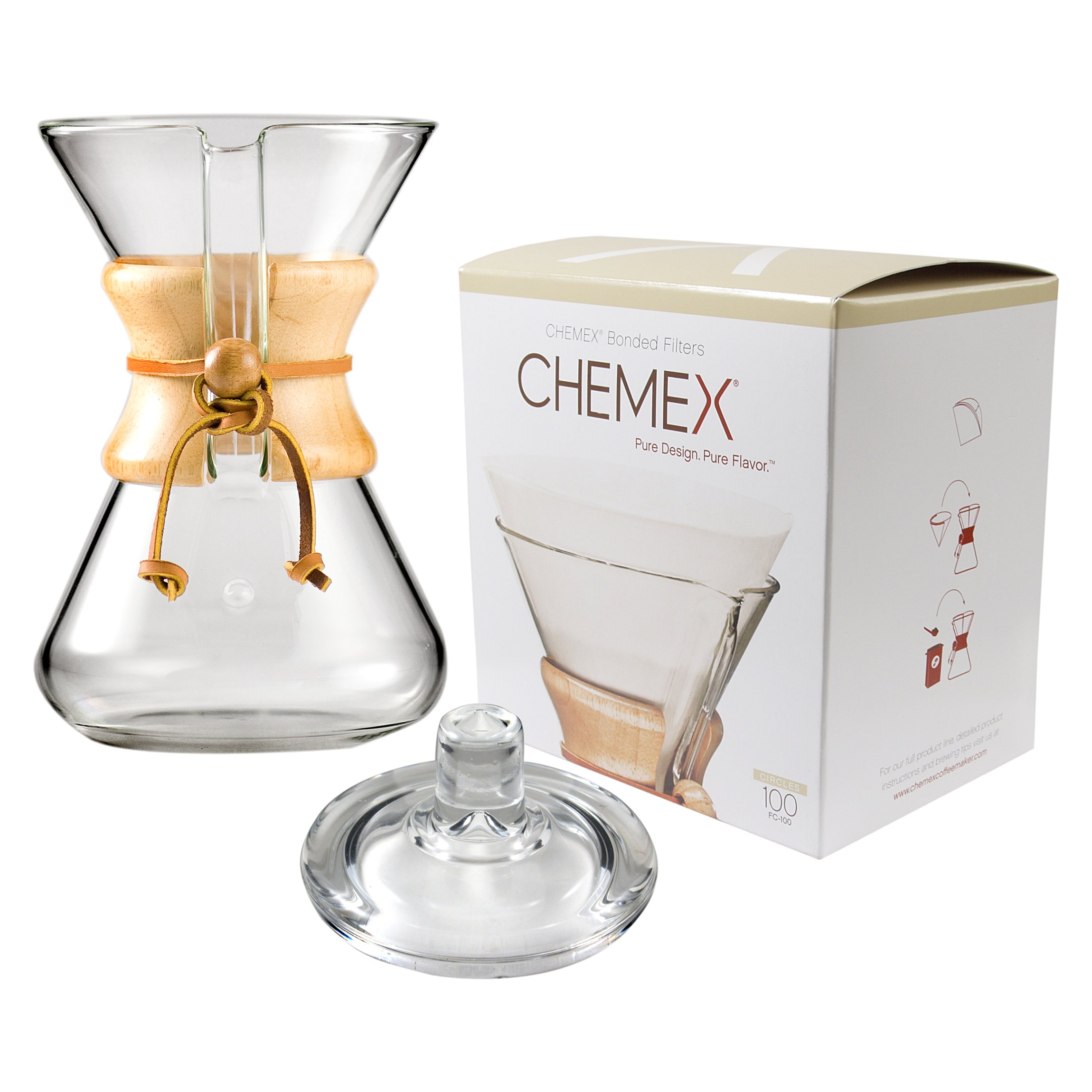 Chemex Classic Wood Collar and Tie Glass 30 Ounce Coffee Maker with Cover and 100 Count Bonded Circle Coffee Filters by Chemex (Image #1)