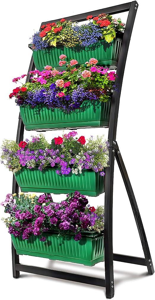Outland Living Cama elevada de jardín de 6 pies, Maceta Vertical Independiente con 4 Cajas de contenedor, Ideal para Patio o balcón, Interior y Exterior, Drenaje de Agua en Cascada: Amazon.es: Jardín