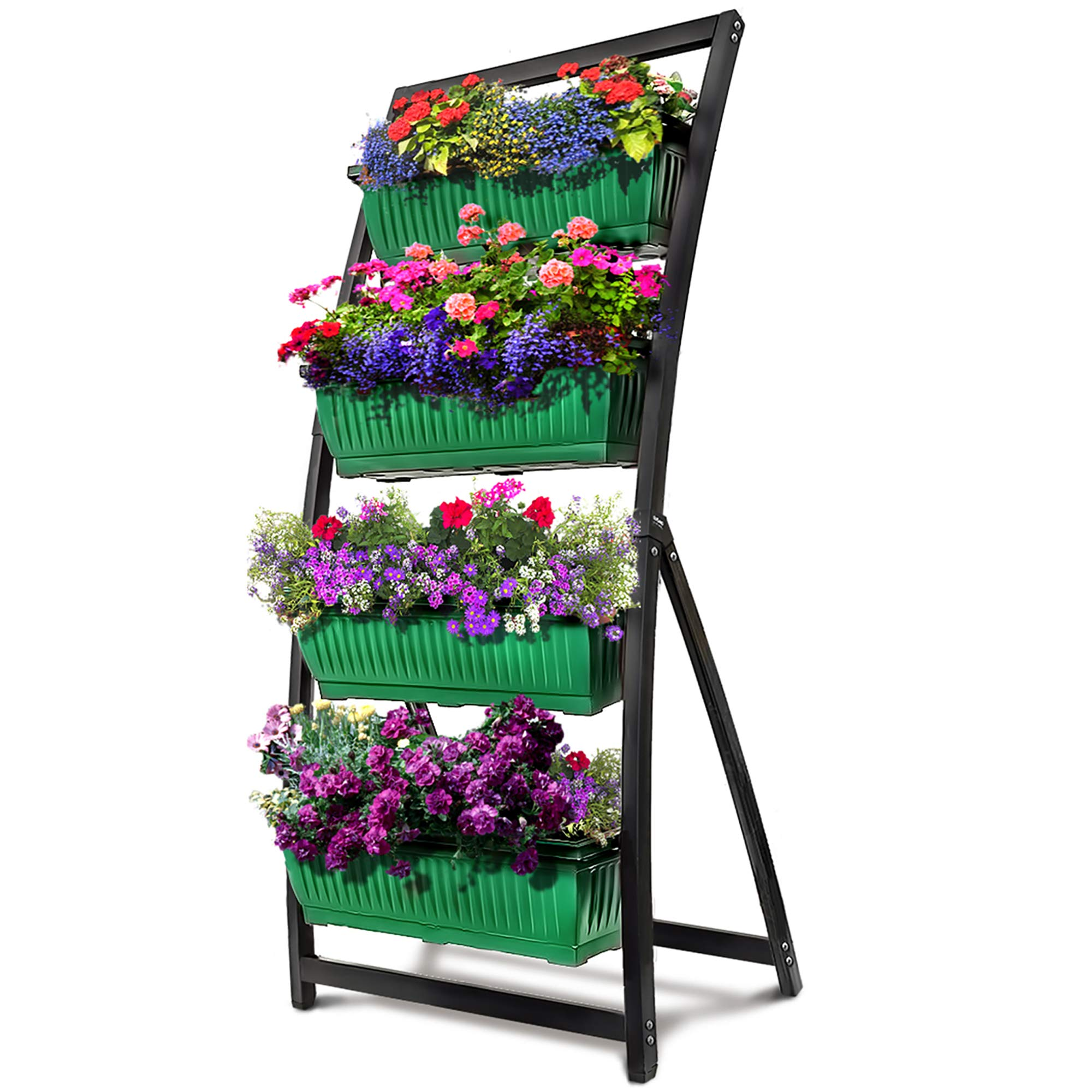 6-Ft Raised Garden Bed - Vertical Garden Freestanding Elevated Planter with 4 Container Boxes - Good for Patio or Balcony Indoor and Outdoor - Cascading Water Drainage (1-Pack/Forest Green) by Outland Living (Image #1)