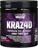 Best Pre Workout KRAZ4D Enhanced Formula for Serious Athletes. Supports Energy, Power, Focus & Muscle Growth. Also has Creatine, Zero Sugar, Great Taste & 100% Absorption. Tropical Punch