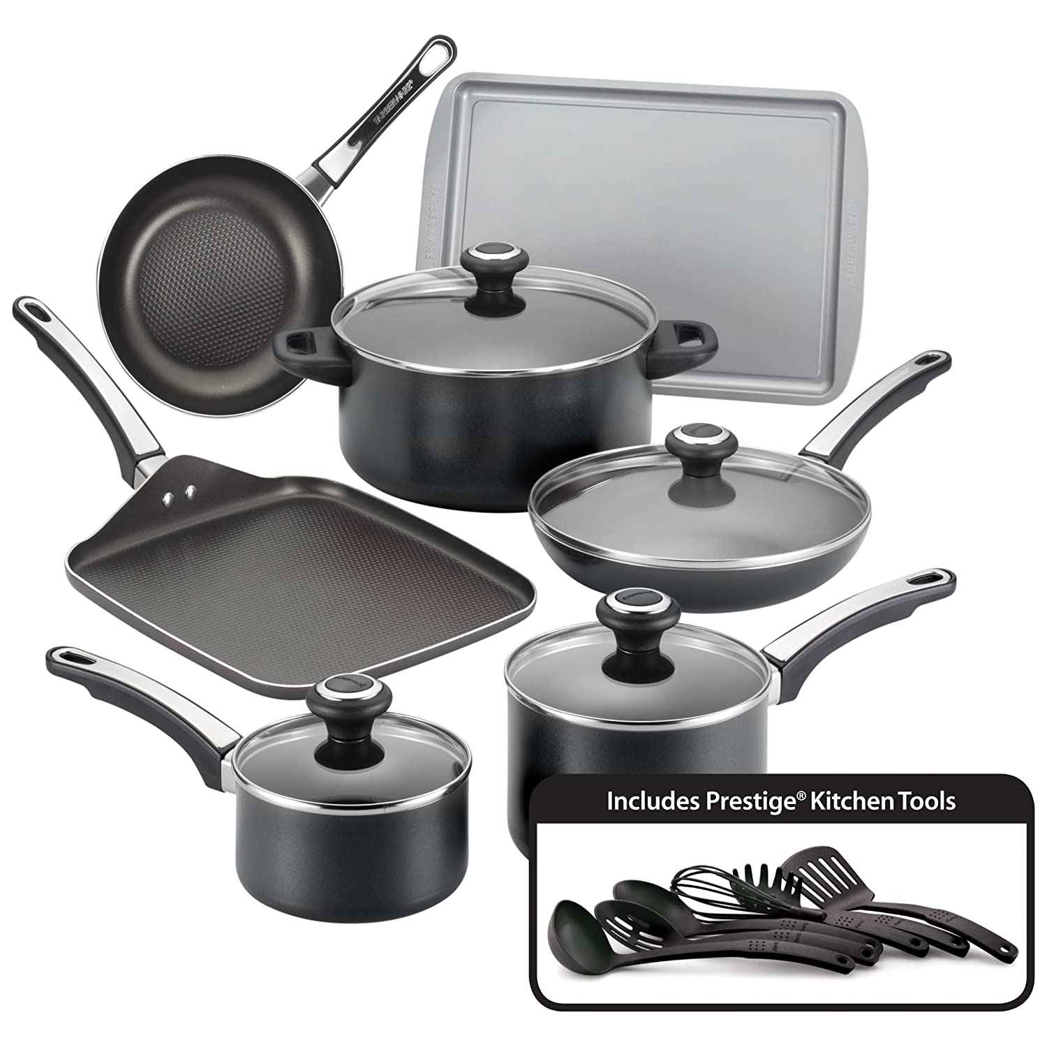 Farberware High Performance Nonstick Aluminum 17-Piece Cookware Set, Black