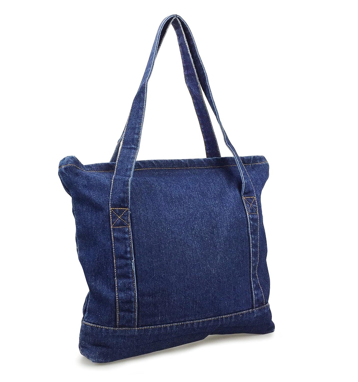 c95c98a509f3 Amazon.com  Hoxis Light Weight Soft Denim Tote Unisex Shopper Shoulder  Handbag (Blue)  Shoes