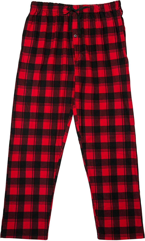 North 15 Men's Plaid, Plush Fleece Pajama Pants